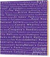 London In Words Purple Wood Print
