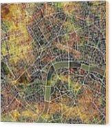 London Map Brown Wood Print