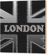 London Modern Union Jack Flag Wood Print