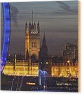 London Night Skyline Cityscape Wood Print