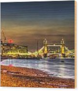 London Night View Wood Print