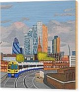 London Overland Train-hoxton Station Wood Print