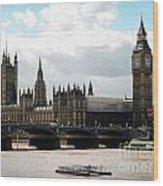 London Parliament Building Wood Print