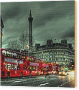 London Red Buses And Routemaster Wood Print by Jasna Buncic