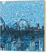 London Skyline Abstract Blue Wood Print