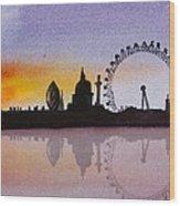 London Skyline At Sunset Wood Print