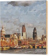 London Skyline From The River  Wood Print