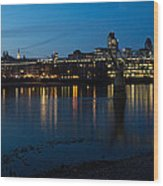 London Skyline Reflecting In The Thames River At Night Wood Print