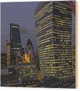 London Skyline Through A Fence Wood Print