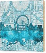 London Skyline Vintage Blue 2 Wood Print
