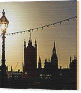 London South Bank Silhouette Wood Print