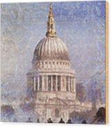 London St Pauls Fog 02 Wood Print