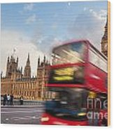 London The Uk Red Bus In Motion And Big Ben Wood Print