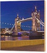 London Tower Bridge By Night Wood Print