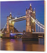 London - Tower Bridge During Blue Hour Wood Print