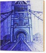 London Tower Bridge Tinted Blue Wood Print