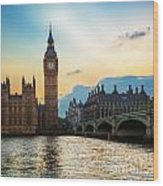 London Uk Big Ben The Palace Of Westminster At Sunset Wood Print