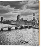 London Uk Big Ben The Palace Of Westminster In Black And White Wood Print