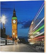London Uk Red Bus In Motion And Big Ben At Night Wood Print
