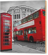 London Uk Red Phone Booth And Red Bus In Motion Wood Print