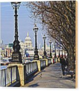 London View From South Bank Wood Print by Elena Elisseeva