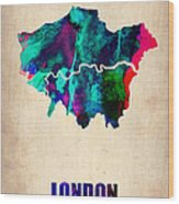 London Watercolor Map 2 Wood Print by Naxart Studio