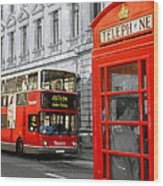 London With A Touch Of Colour Wood Print