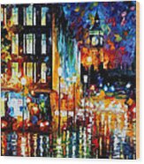 Londons Lights - Palette Knife Oil Painting On Canvas By Leonid Afremov Wood Print