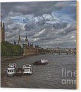 London's Thames River Wood Print