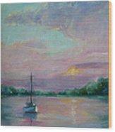 Lone Boat At Sunset Wood Print