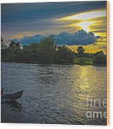 Lone Boat On The River Photo Wood Print