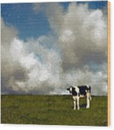 Lone Cow Wood Print