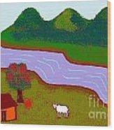 Lone Cow Wood Print by Meenal C