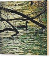 Lone Duck Wood Print
