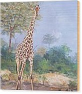 Lone Giraffe Wood Print