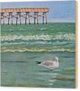Lone Gull A-piers Wood Print