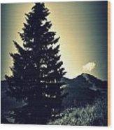 Lone Mountain Pine Wood Print