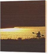 Lone Paddler At Sunset Wood Print