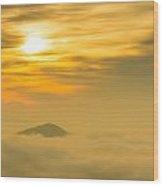 Lone Peak Hanging In The Light Wood Print