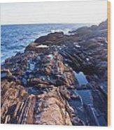 Lone Person On Rocks At Pemaquid Point Wood Print