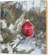 Lone Red Christmas Ball Wood Print