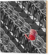 Lone Red Number 21 Fenway Park Bw Wood Print
