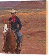 Lone Rider Wood Print