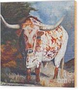 Lone Star Longhorn Wood Print