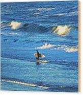 Lone Surfer 1 Wood Print