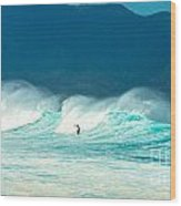Lone Surfer Wood Print