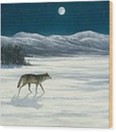 Lone Wolf In Winter   Version 2 Wood Print by Steve Swavely