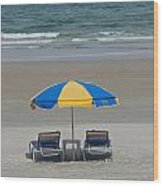 Lonely Beach Chairs Wood Print