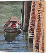 Lonely Boat In Venice Wood Print