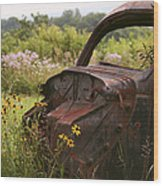 Lonely Car On The Prairie Wood Print